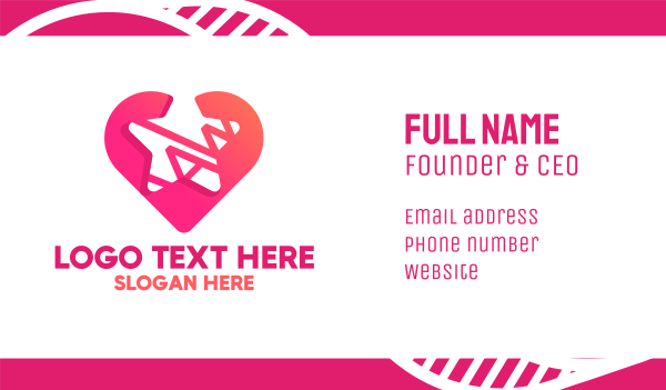 pink and white - Star Heart Business card horizontal design
