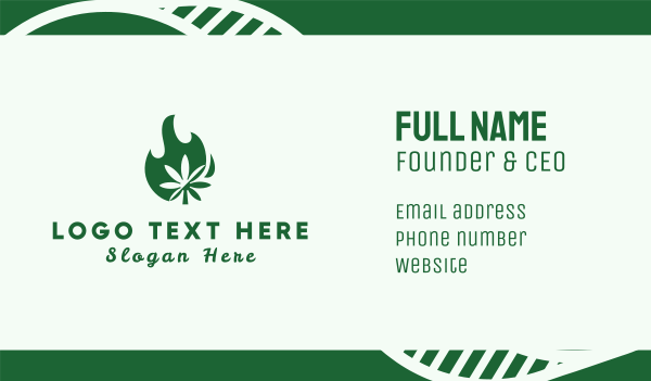 marijuana - Flaming Cannabis Business card horizontal design