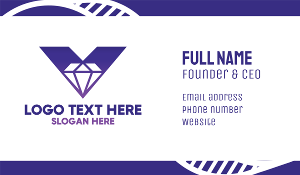 treasure - Bold V Diamond Business card horizontal design