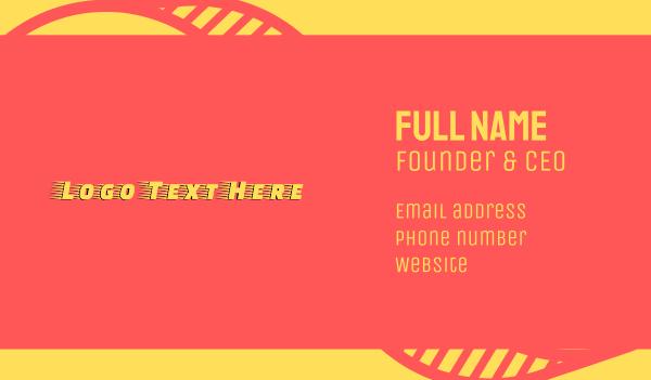 motorsport - Yellow Racing Wordmark Business card horizontal design