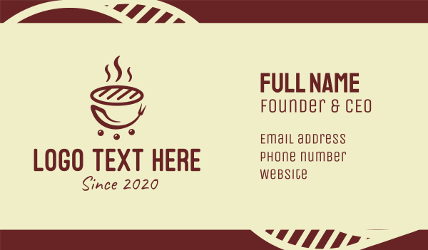 steam - Hot Barbecue Grill Business card horizontal design