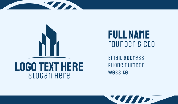 blue city - Engineering Towers Business card horizontal design