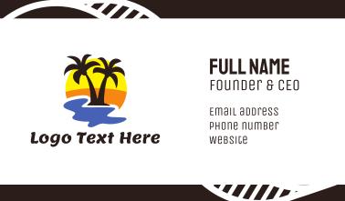 Summer Black Coconut Tree Business Card