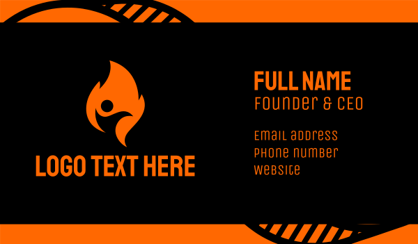 foundations - Fire Flame Person Business card horizontal design