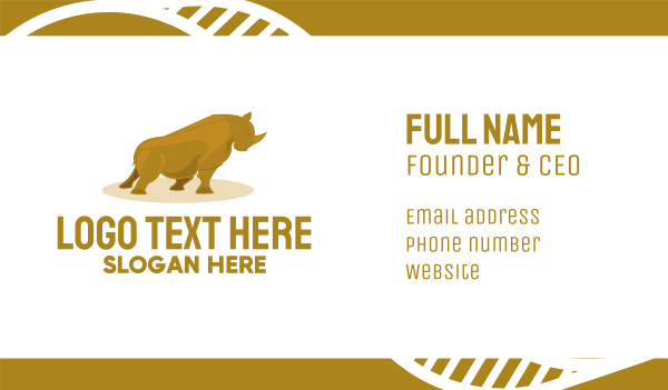 solid - Gold Rhino Business card horizontal design