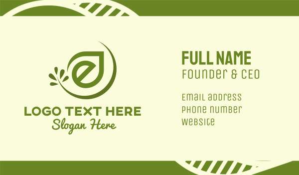 letter e - Organic Leaf Letter E Business card horizontal design