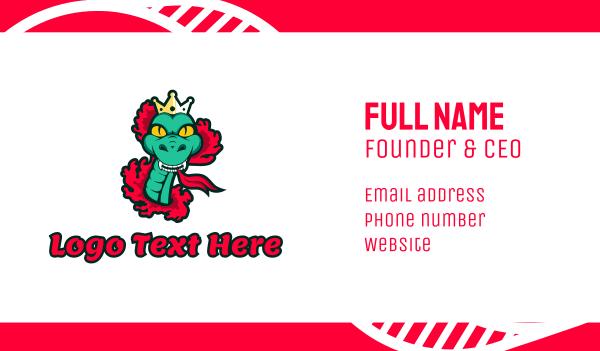 asian - Green Snake Queen Business card horizontal design