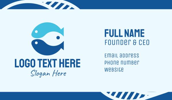 fisheries - Triple Blue Fish Business card horizontal design