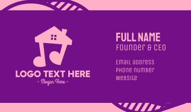 Pink Musical House Business Card