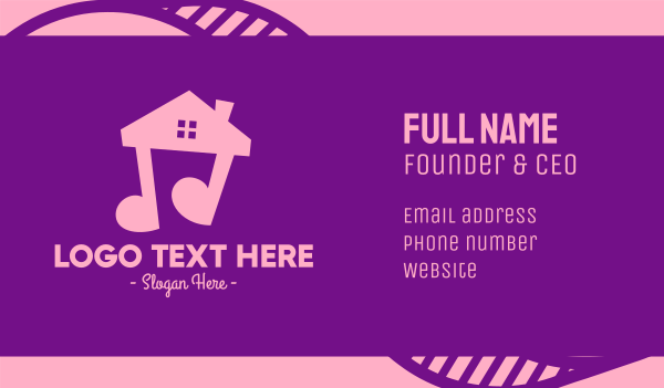 quarter note - Pink Musical House Business card horizontal design