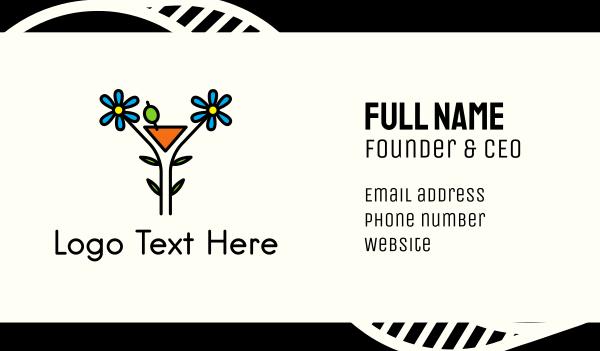 bachelorette - Organic Cocktail Flower Drink Business card horizontal design