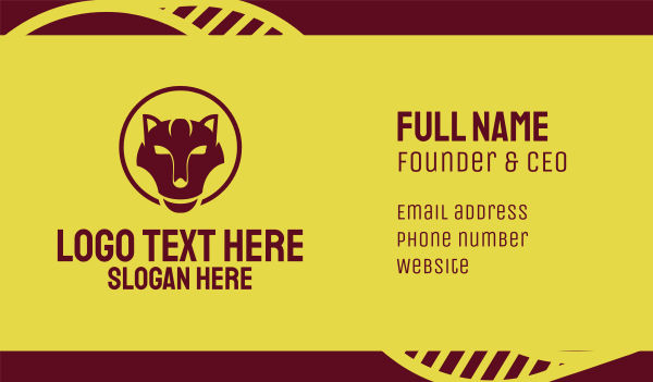 maroon - Maroon Wild Cat Business card horizontal design