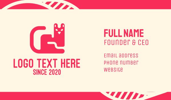 cat face - Pink Pet Cat Business card horizontal design