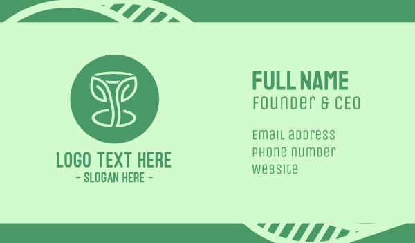 Green Organic Wine Glass Business Card