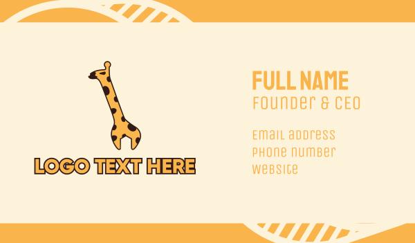 safari park - Giraffe Wrench Business card horizontal design