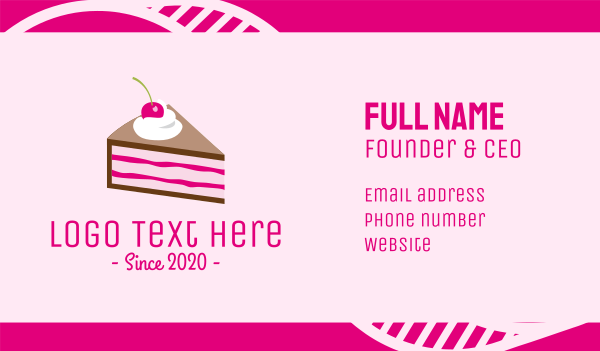 chef - Pink Cherry Cake Business card horizontal design