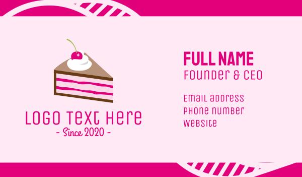 birthday cake - Pink Cherry Cake Business card horizontal design