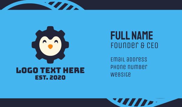 fixing - Happy Penguin Cog Business card horizontal design