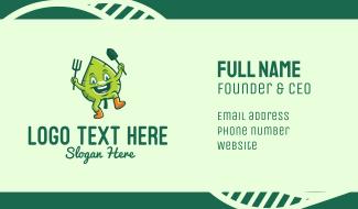 Organic Garden Leaf Mascot Business Card