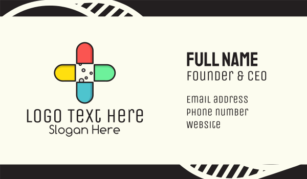 hospital care - Colorful Capsule Vitamins Business card horizontal design