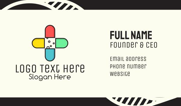 pharmacology - Colorful Capsule Vitamins Business card horizontal design