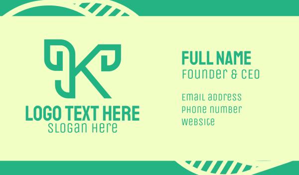 green living - Green Cursive Letter K  Business card horizontal design