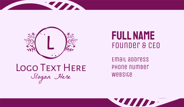 perfume - Plant Flower Letter Business card horizontal design