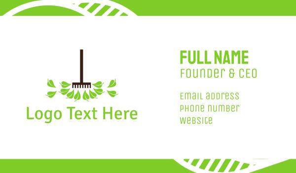 tools - Gardening Rake Business card horizontal design