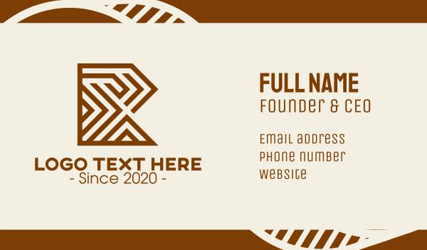 labyrinth - Wooden Letter R Business card horizontal design