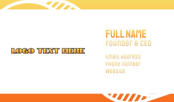 fabrication - Orange Industrial Wordmark Business card horizontal design
