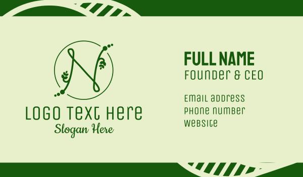 orchard - Natural Letter N Business card horizontal design