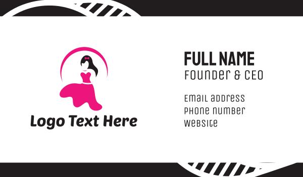 womenswear - Pink Female Dress Business card horizontal design