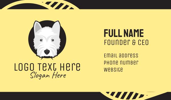 dog walker - White Grey Terrier Dog Business card horizontal design