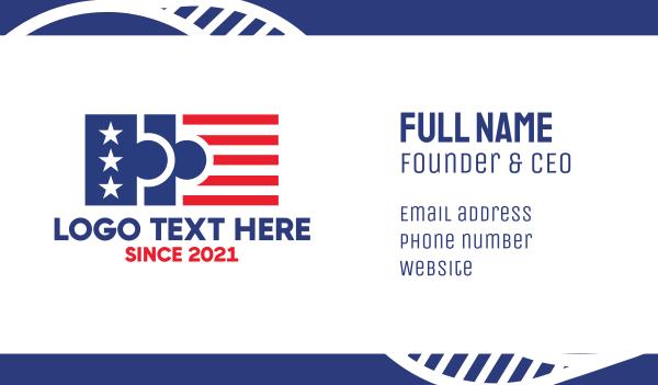 election - USA Puzzle Flag Business card horizontal design