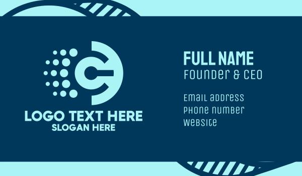 power button - Digital Letter C  Business card horizontal design
