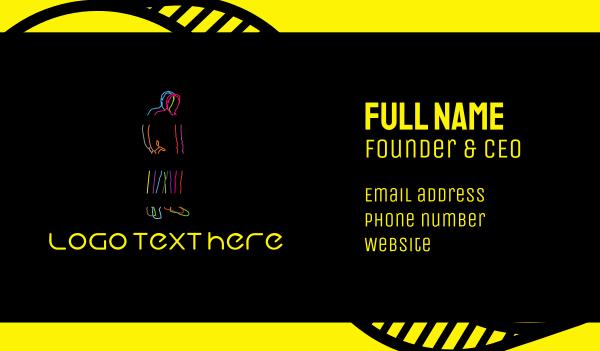 fluorescent - Neon Man Business card horizontal design