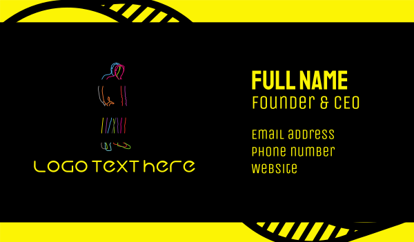 indie - Neon Man Business card horizontal design