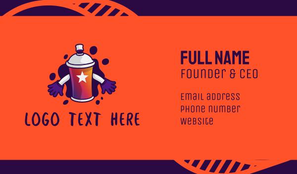 spray can - Graffiti Spray Paint Mascot Business card horizontal design