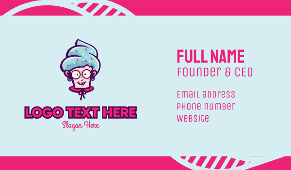 senior citizen - Sweet Old Lady Cupcake Business card horizontal design