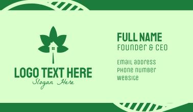 Green Cannabis Leaf House  Business Card