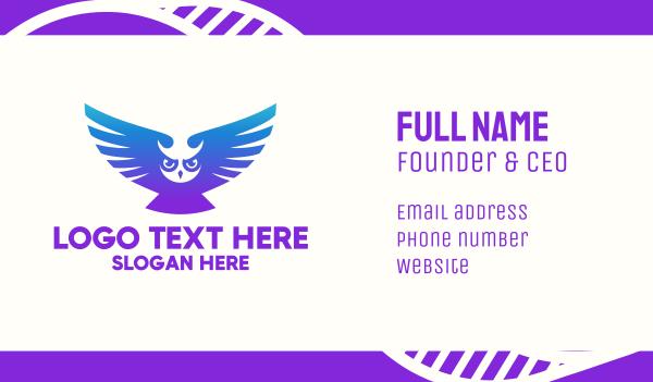 wisdom - Owl Gradient Mascot Business card horizontal design