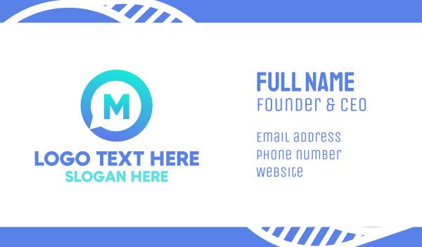industries - Blue Media Chat Lettermark Business card horizontal design