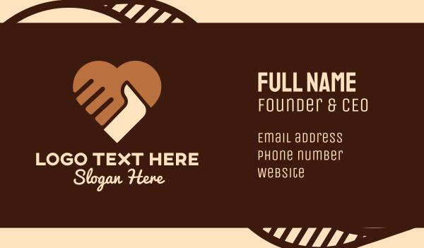 blm - Brown Heart Hands Business card horizontal design