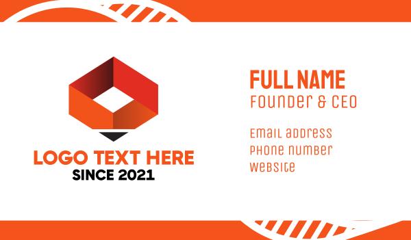 orange pencil - Orange Pen Box Business card horizontal design