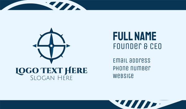 north - Blue Letter S Compass Business card horizontal design