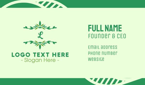 evergreen - Green Ornamental Lettermark Business card horizontal design