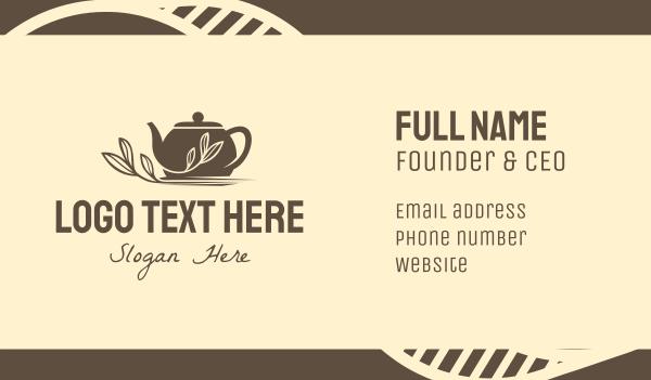 tea house - Brown Tea Pot Business card horizontal design