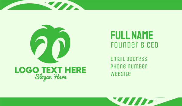 organic farm - Green Organic Letter T Business card horizontal design