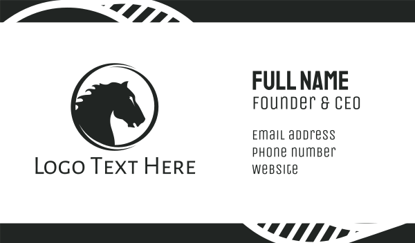 steed - Black Horse Badge Business card horizontal design