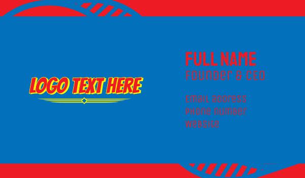 word - Bold Comic Superhero Wordmark Business card horizontal design